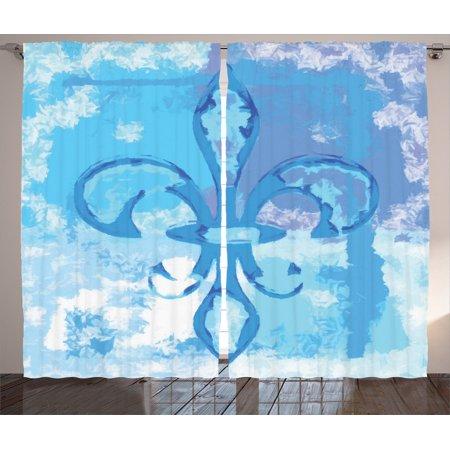 Fleur De Lis Decor Curtains 2 Panels Set, Illustration Of Lily Flower Like Frozen Heredic Nobility Emblem Queenly Style Print, Living Room Bedroom Accessories, By - Flower Emblem Dresser
