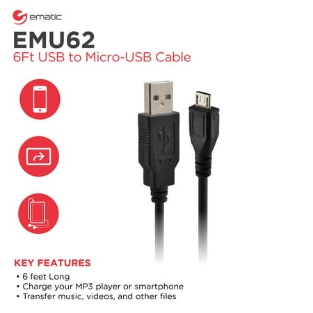 Ematic 6 Feet USB to Micro-USB Cable (EMU62), Black