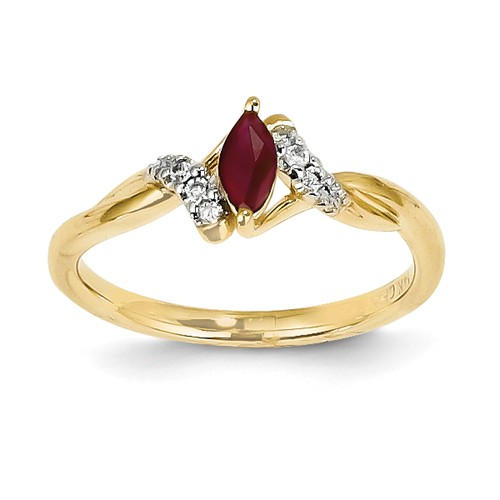 14k Yellow Gold Diamond & Marquise Ruby Gemstone Ring. Carat Wt- 0.38ct by Jewelrypot