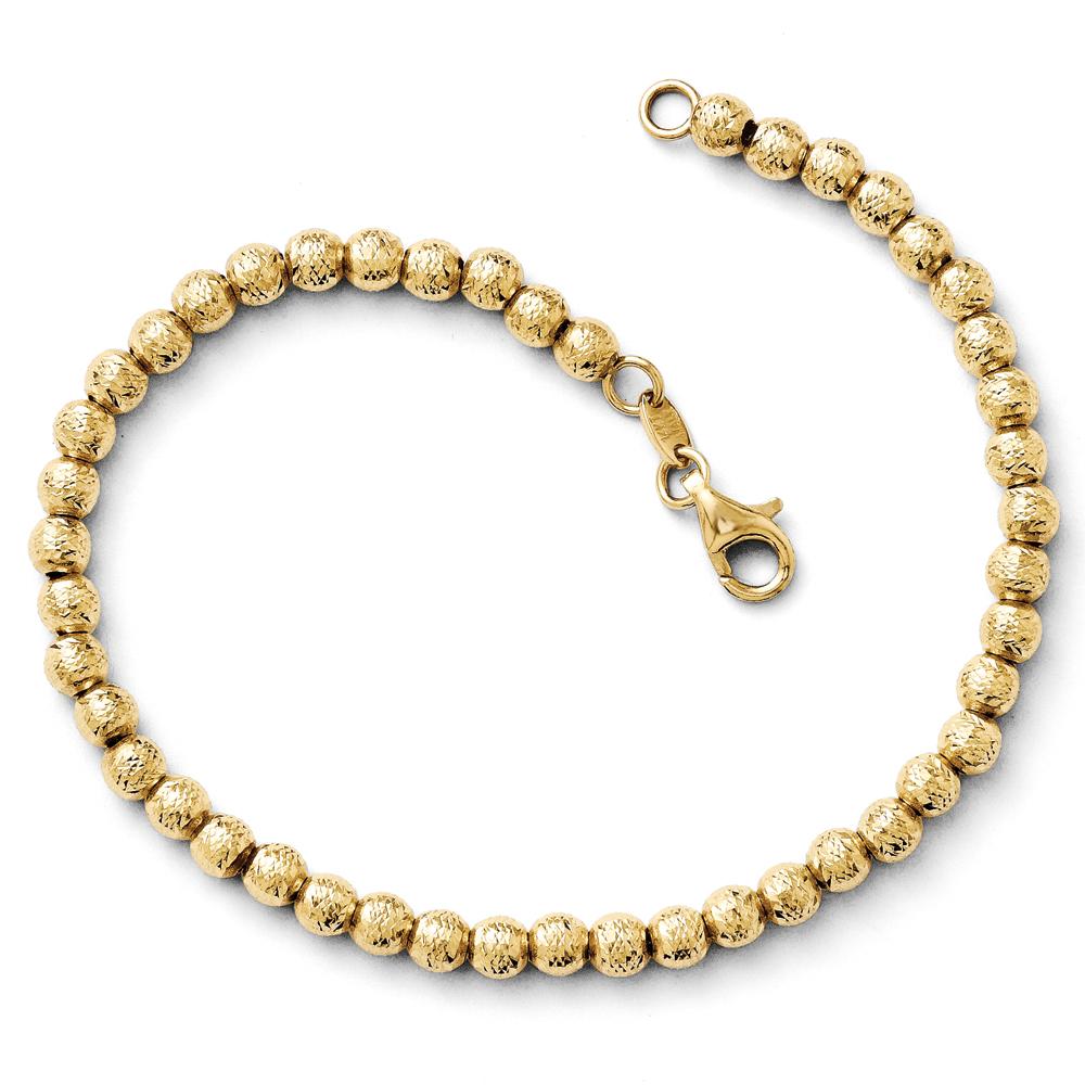 Italian 4mm Diamond Cut Bead Bracelet in 14k Yellow Gold, 7.25 Inch by Black Bow Jewelry Company