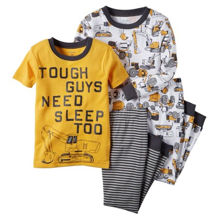 Carters Baby Clothing Outfit Boys 4-Piece Snug Fit Cotton PJs Tough Guys Construction