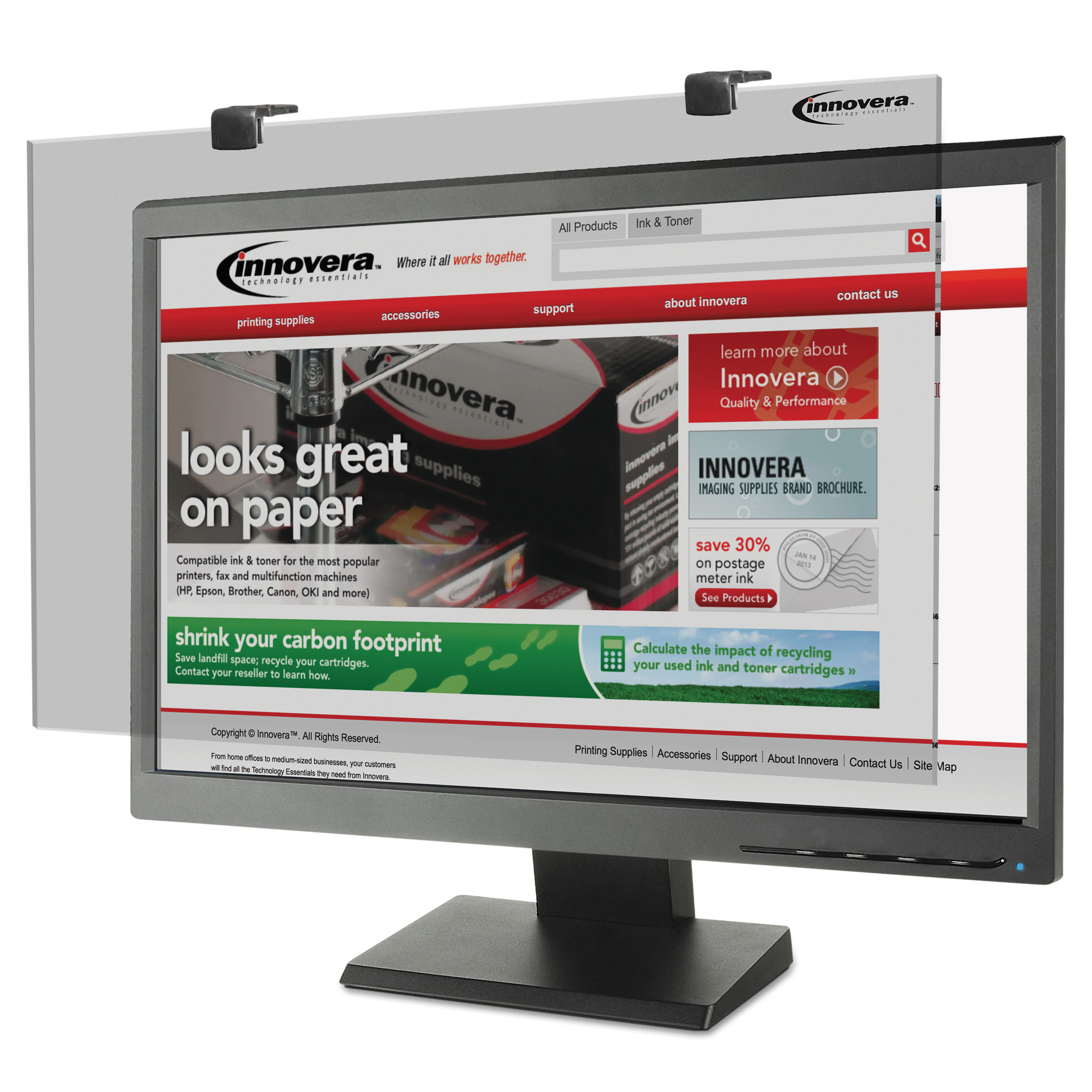 Innovera Protective Antiglare LCD Monitor Filter, Fits 24