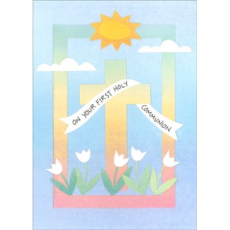 Recycled Paper Greetings Sun & Cross Religious Communion Congratulations