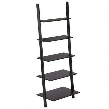 Modern 5 Tiers Ladder Bookshelf Bookcase Leaning Wall Shelf Storage