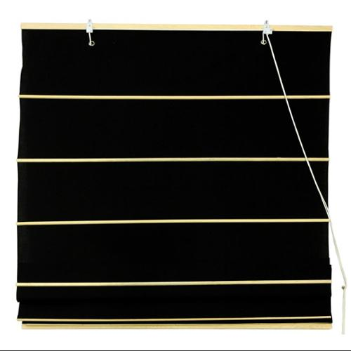 Cotton Roman Shades in Black (24 in. Wide)