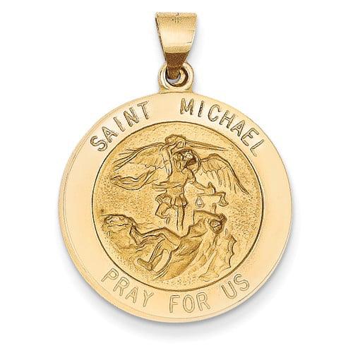 14k Yellow Gold Engravable Saint Michael Medal Pendant