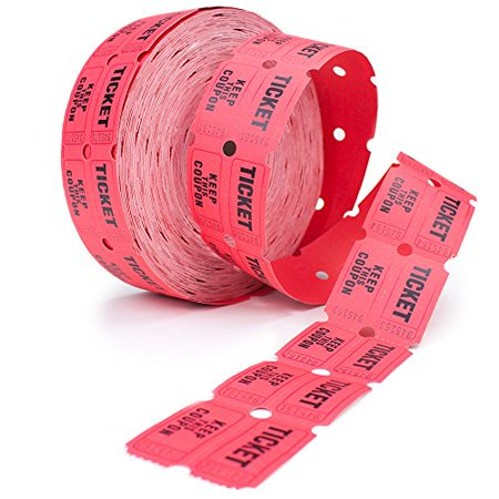 2 Part Tickets (Two Part Double Roll Raffle 50/50 Tickets, 2,000-pack,)