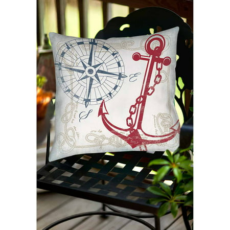 Thumbprintz Anchors Away White Indoor/Outdoor Pillow
