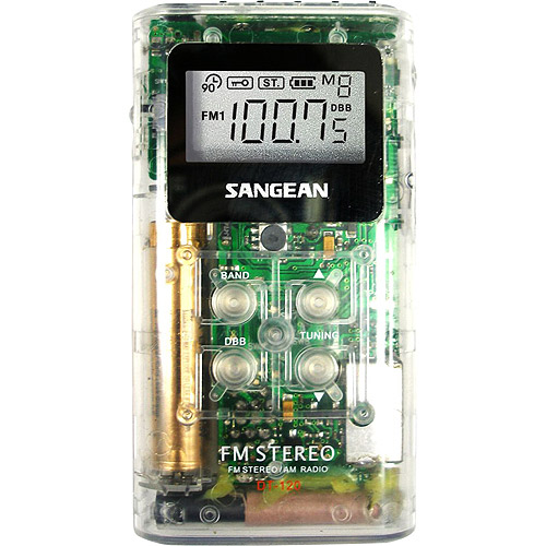 Sangean America Pocket AM/FM Receiver, Clear