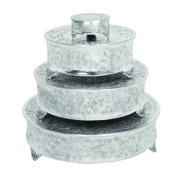 Decmode Traditional 22, 18, 14, and 6 Inch Silver Metal Cake Stands - Set of 4