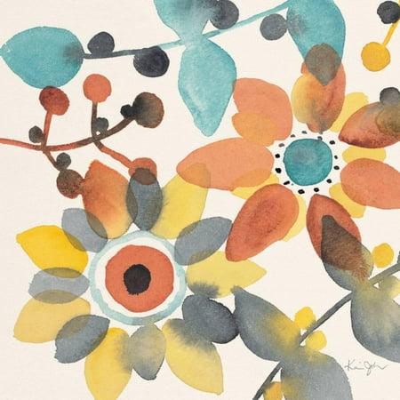 Frivolous Florals 1 Boho Watercolor Flowers Print Wall Art By Karin Johannesson