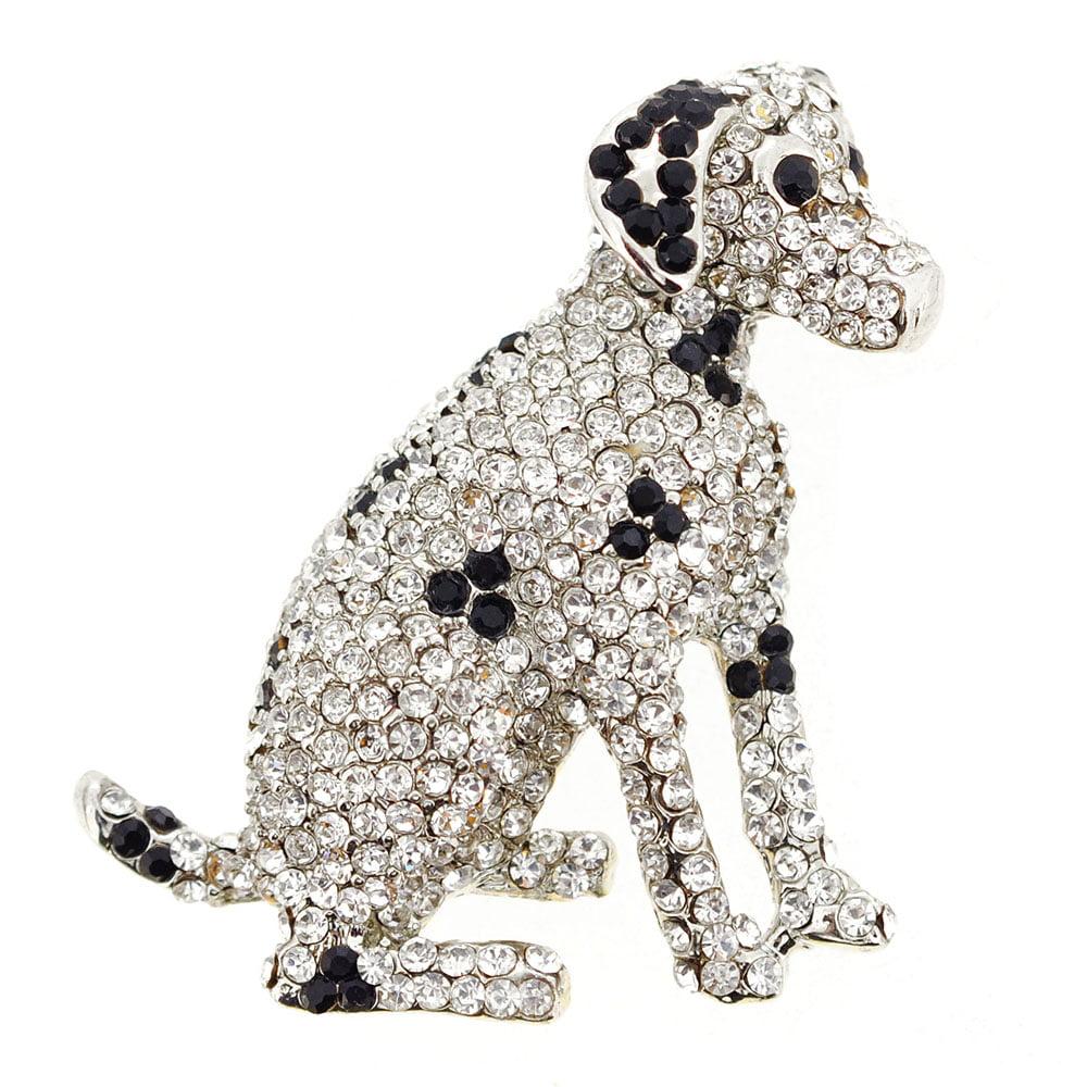 Dalmatian Dog Crystal Pin Brooch by