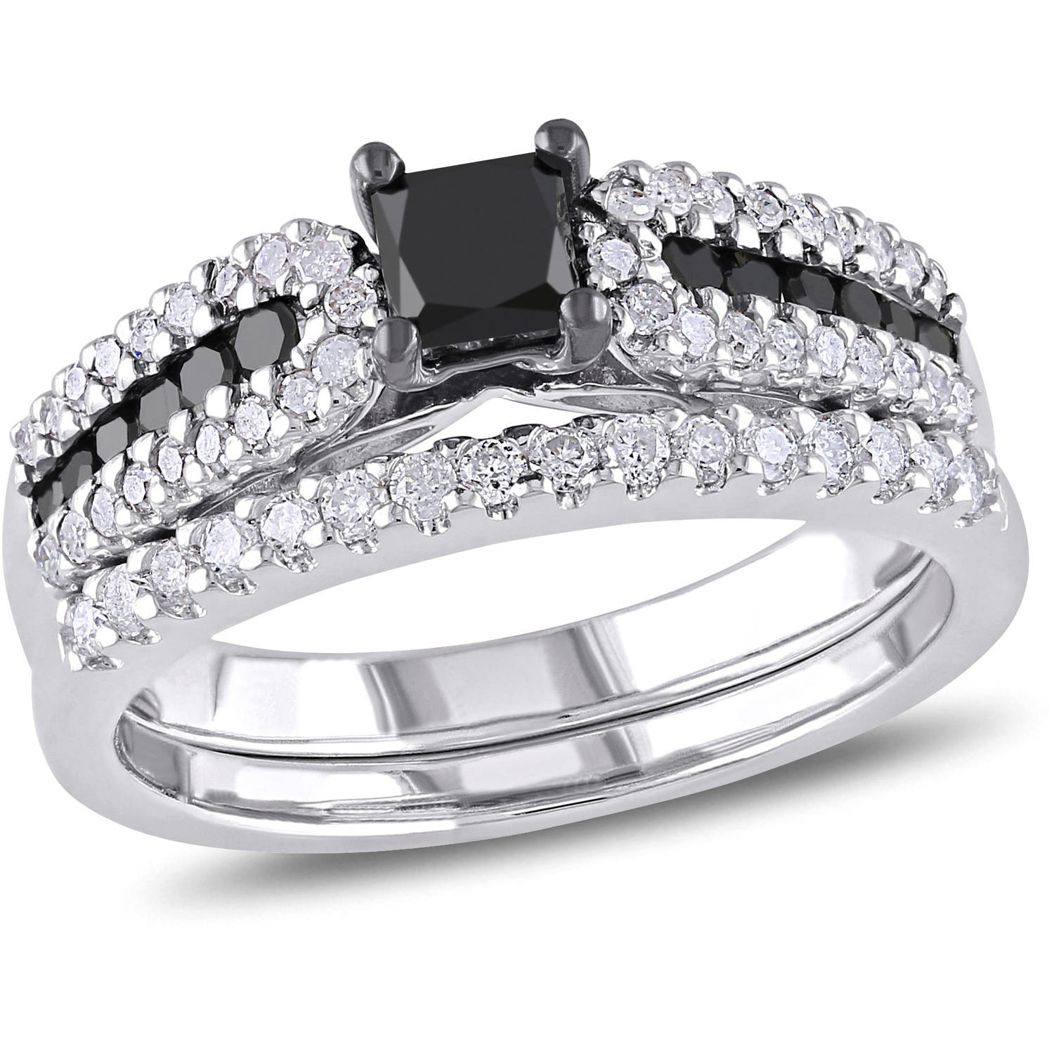 1 Carat T.W. Princess and Round-Cut Black and White Diamond Sterling Silver Bridal Set