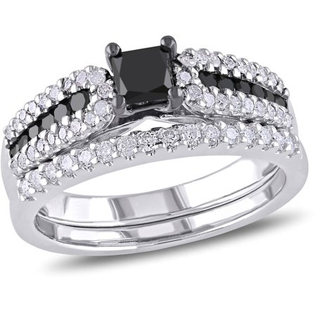 1 Carat T W  Princess And Round Cut Black And White Diamond Sterling Silver Bridal Set