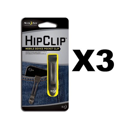 HipClip Lightweight Stainless Steel Universal Adhesive Clip (3-Pack), Fits most mobile devices such as phones, MP3 players, or digital cameras. By Nite Ize