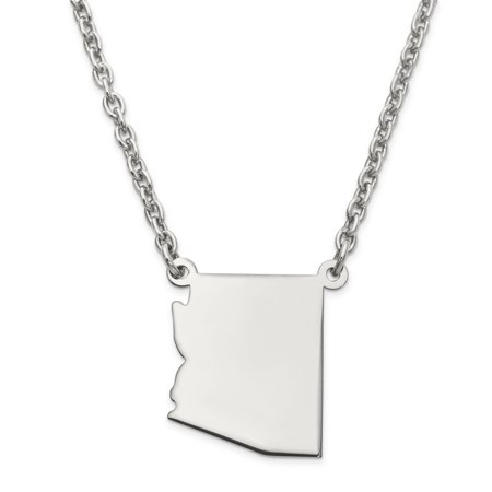 925 Sterling Silver Az State Pendant Charm Necklace Chain Engravable Fine Jewelry Gifts For Women For Her - image 7 of 7
