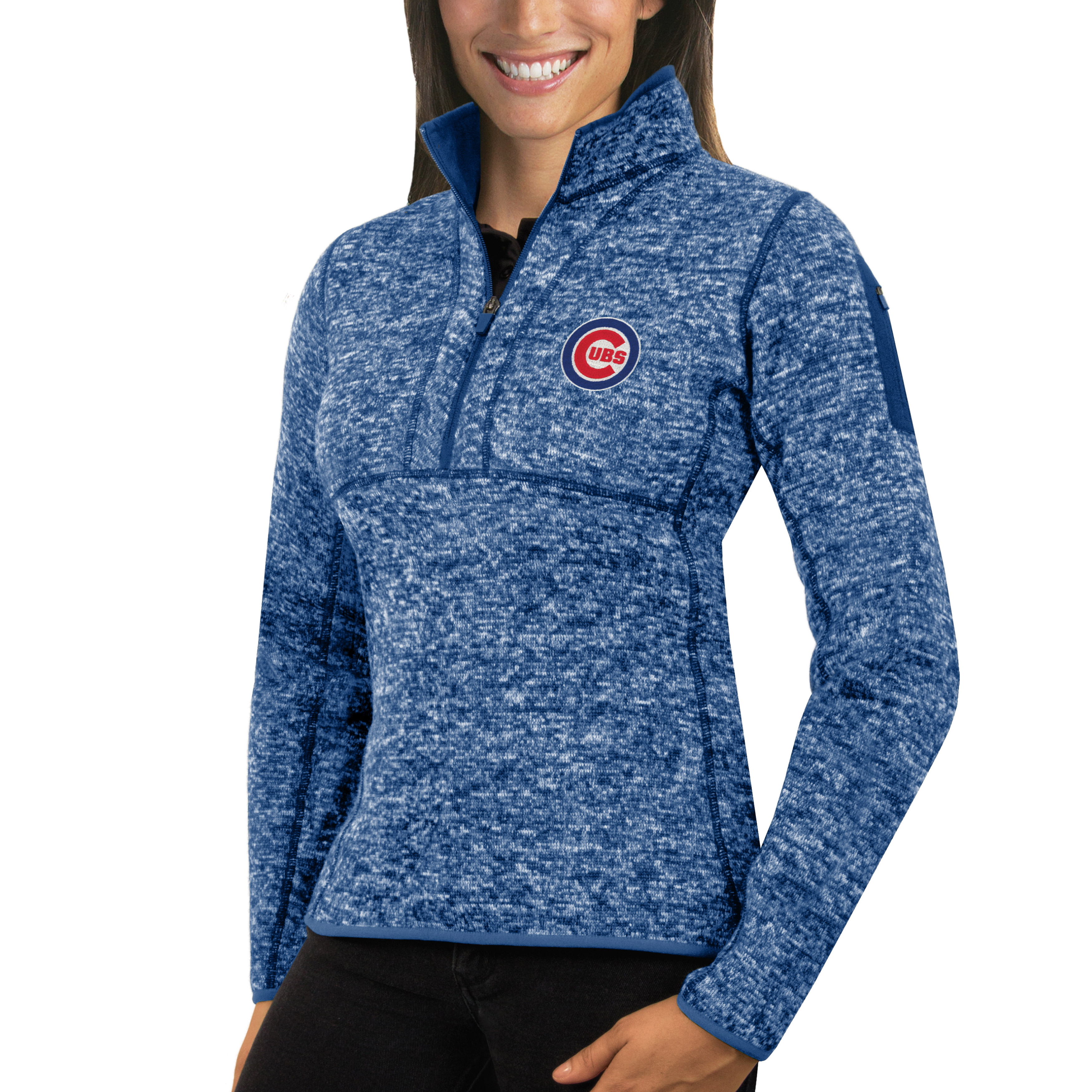 Chicago Cubs Antigua Women's Fortune Half-Zip Pullover Sweater - Heathered Royal