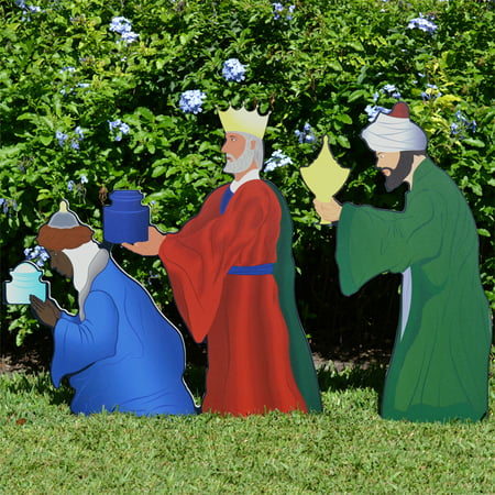 Teak Isle Outdoor Nativity Set | Weatherproof Printed Three Wise Men Nativity Figures Outdoor Nativity for Yards and Lawns ()
