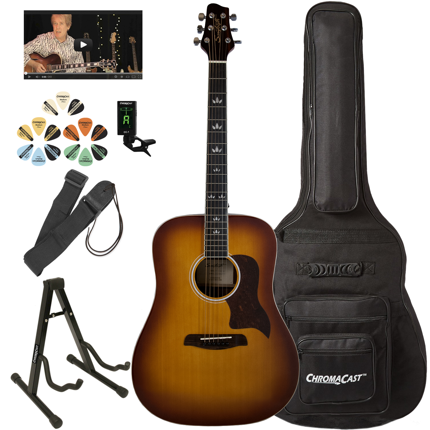 Sawtooth Modern Vintage Mahogany Top Acoustic Dreadnought Guitar with ChromaCast... by SAWTOOTH