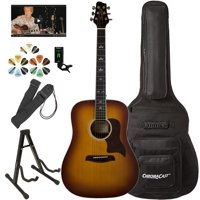 Sawtooth Acoustic Guitar with Padded Case, Tuner, Stand, Strap & Picks – Dreadnought Folk Guitar