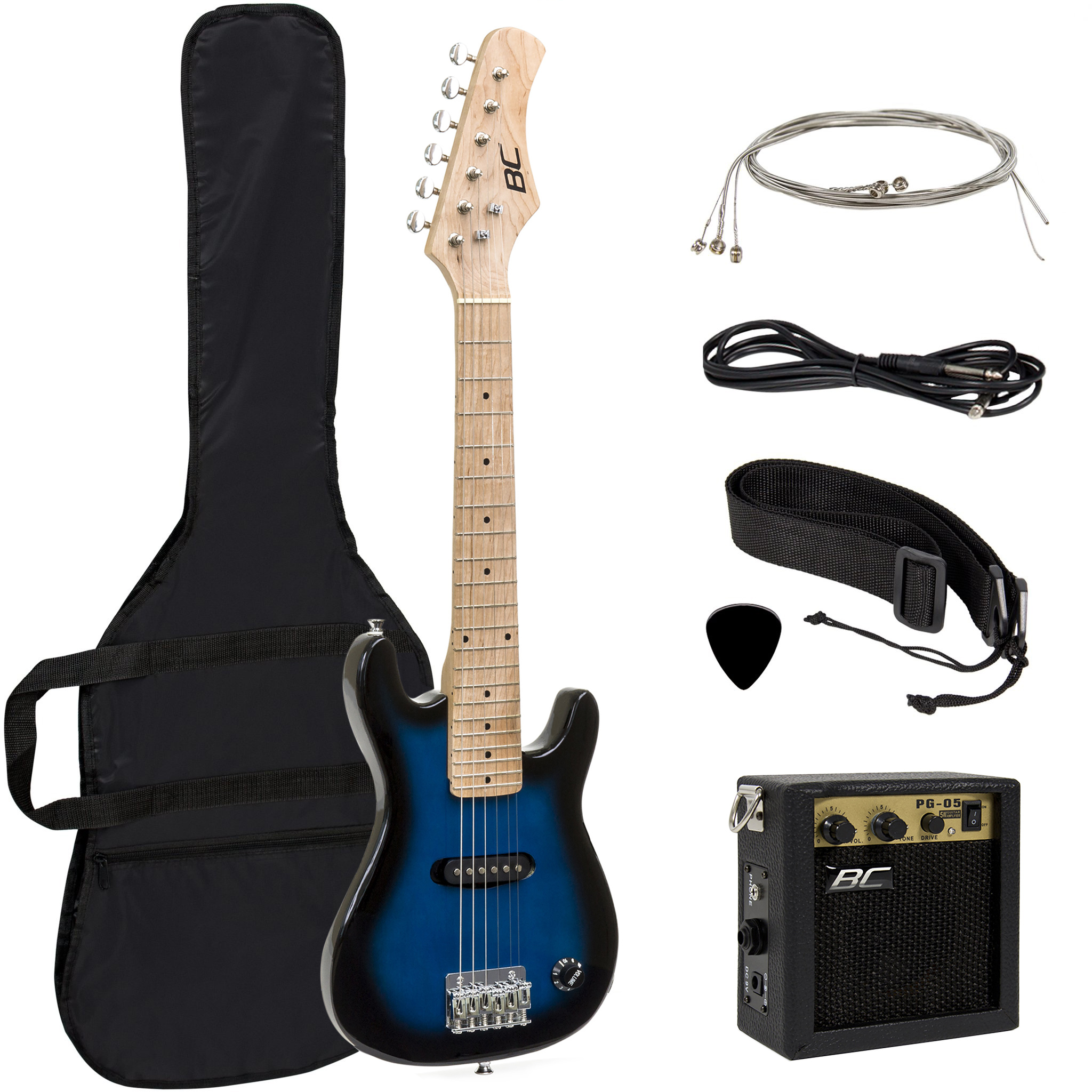 "BCP Electric Guitar Kids 30"" Blue Guitar W  Amp, Case, Strap (Blue) by Best Choice Products"