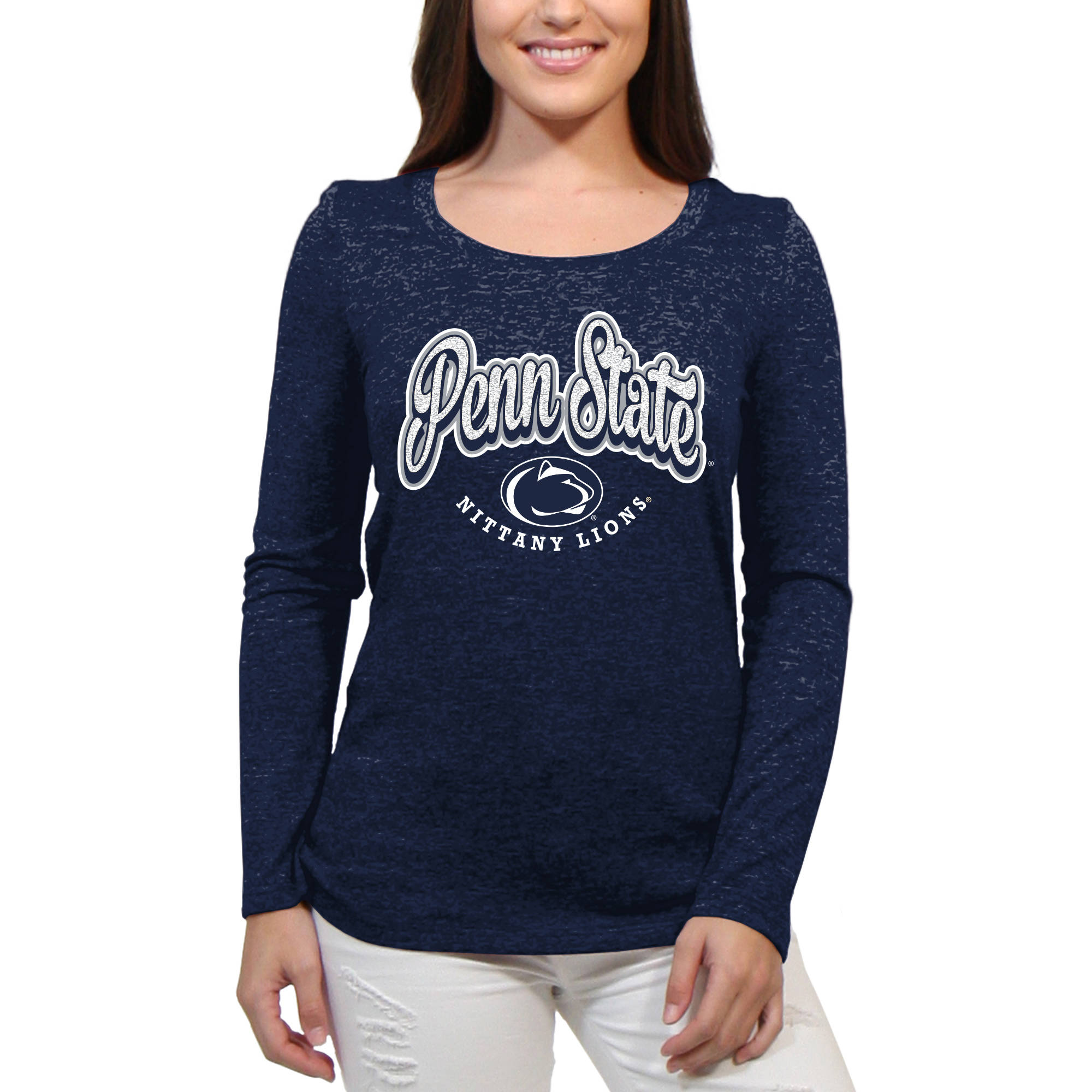 Penn State Nittany Lions Funky Script Women'S/Juniors Team Long Sleeve Scoop Neck Shirt