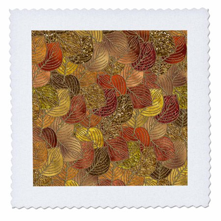 3dRose Luxury Gold Faux Metal Foil Glitter Autumnal Foliage Leaf Pattern - Quilt Square, 10 by 10-inch ()