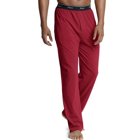 Hanes Mens Logo Waistband Solid Jersey Pants Flannel Heather S Hanes Mens