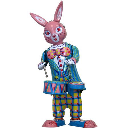 Alexander Taron Collectible Decorative Tin Toy Bunny with Drums - Decorative Tins