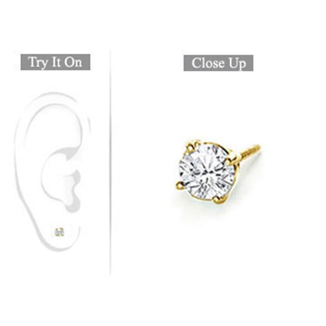 FineJewelryVault Mens 18K Round Diamond Stud Earring - 0. 25 CT.  TW.