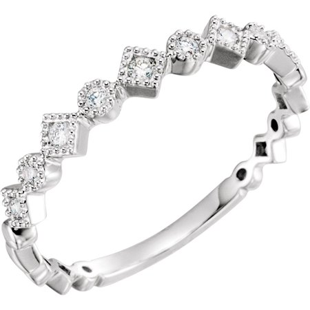 14K White Gold 1/8 CTW Diamond Anniversary Band Ring Size 7 Valentines Day Gift for Women