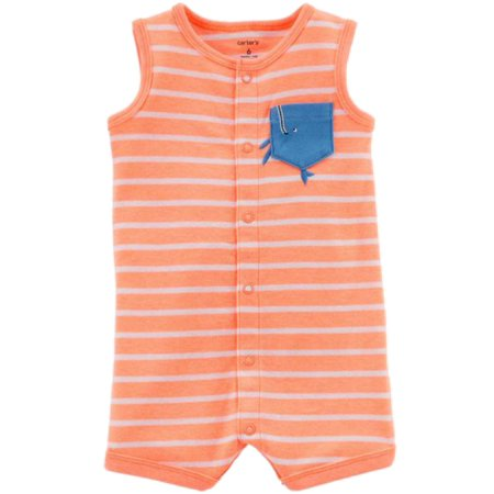 Carters Infant Boys Orange Stripe Tank Romper Baby Whale Bodysuit Outfit