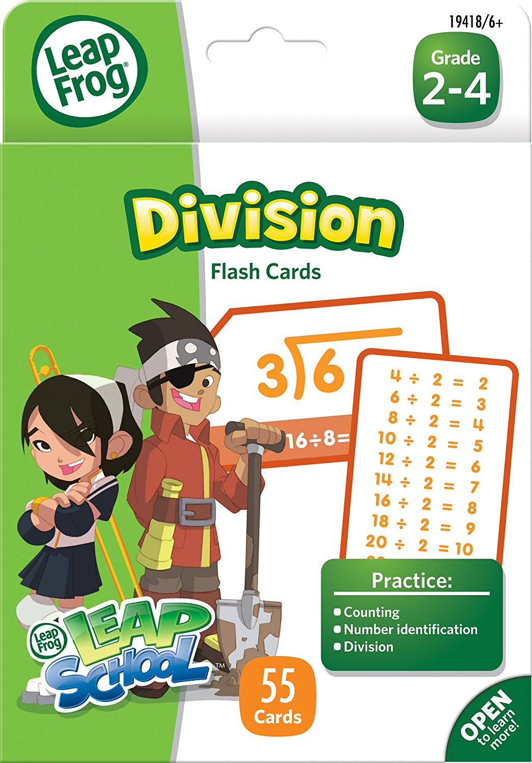 LeapSchool Division Flash Cards for Grades 2-4, Pack of 59 (CYD82), Included tip card... by