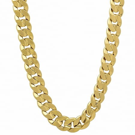 6mm-9mm 14k Yellow Gold Plated Concave Cuban Link Curb Chain (Gold Cuban Link Chain)