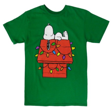 peanuts mens green snoopy t shirt christmas shirt - Peanuts Christmas Shirt
