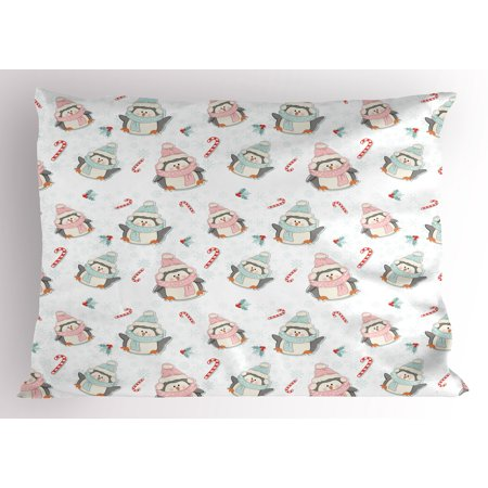 Candy Cane Pillow Sham Cute Christmas Boy and Girl Penguins with Scarf Hats Traditional Holly Berries, Decorative Standard Size Printed Pillowcase, 26 X 20 Inches, Multicolor, by - Candy Cane Scarf