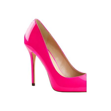 womens pointed toe shoes neon fuchsia pumps blacklight reactive 5 inch heels - Neon Stripper Heels