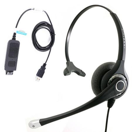Plug N Play USB computer Headset for MS Lync, Skype, 3CX, Bria X-Lite. Large Ear Pad Noise Cancel Mic Monaural Headset with Plantronics compatible QD
