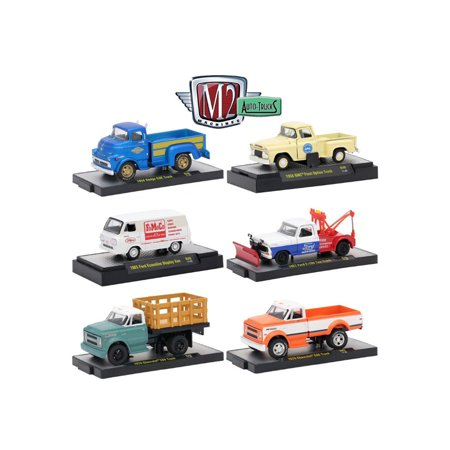 auto trucks 6 piece set release 46 in display cases 1 64 diecast model cars by m2 machines. Black Bedroom Furniture Sets. Home Design Ideas