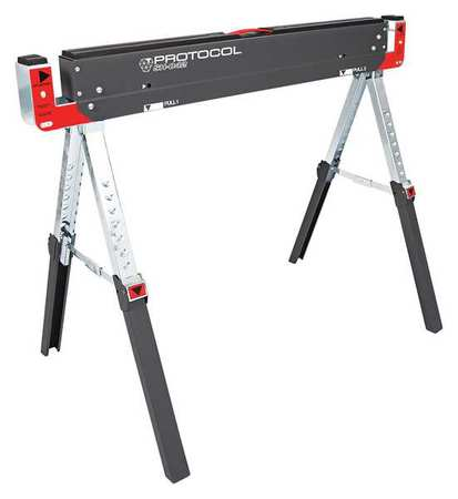 PROTOCOL Steel Sawhorse Work Table, 42-9 64 in by Protocol