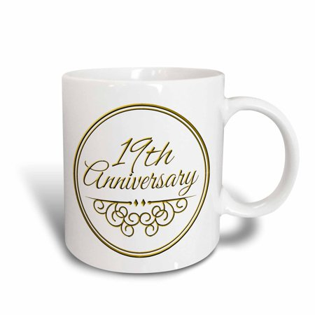 - 3dRose 19th Anniversary gift - gold text for celebrating wedding anniversaries - 19 years married together, Ceramic Mug, 15-ounce