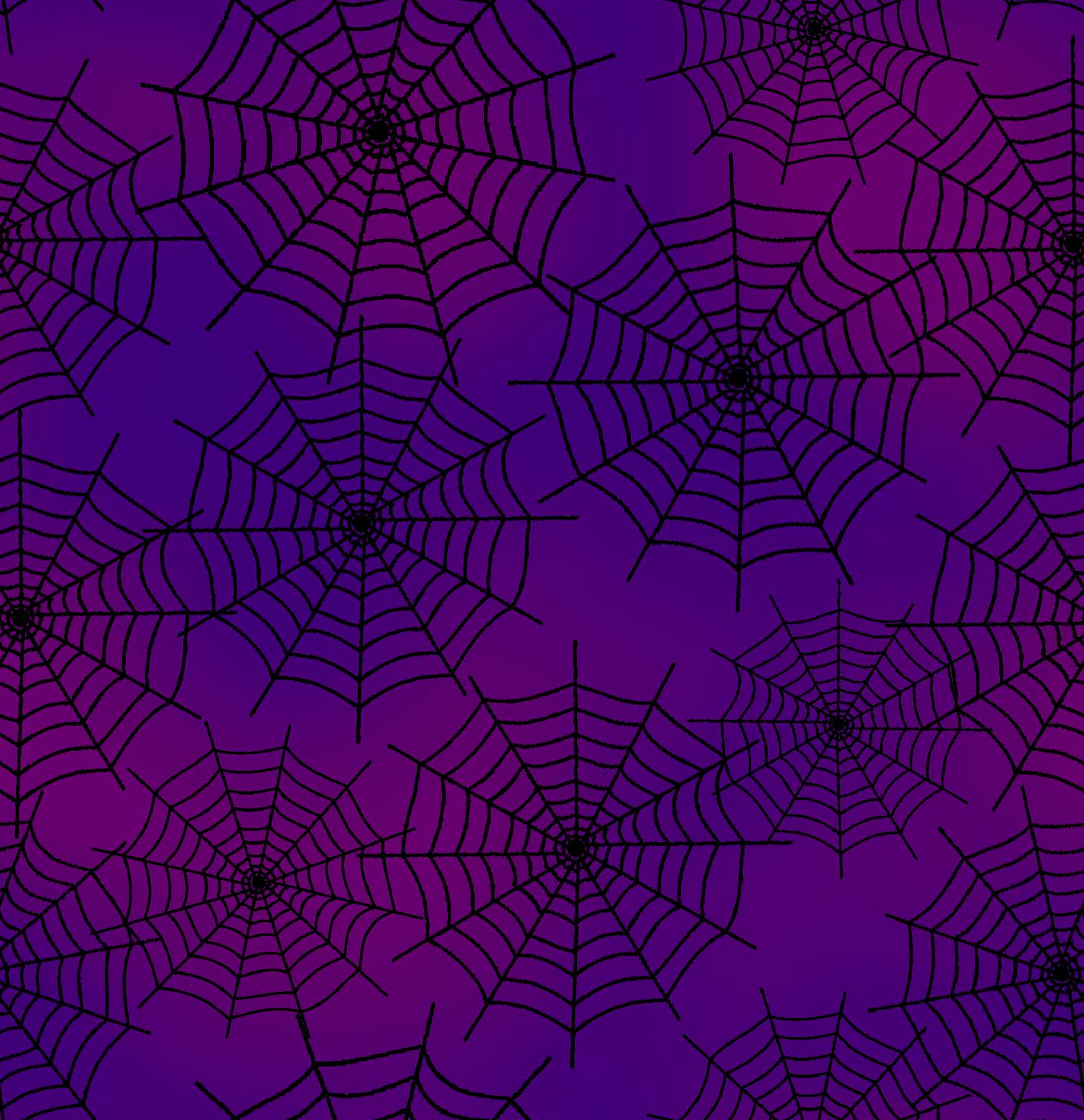 FABRIC EDITIONS, COTTON FABRIC, FAT QUARTER, 18X21, HALLOWEEN, WEBS PURPLE