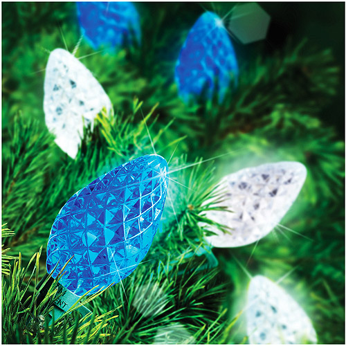 Holiday Time 25-Count LED C7 Color Changing Christmas Light String, Blue/White