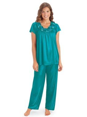 Rose Trim Short Sleeve Pajama Set