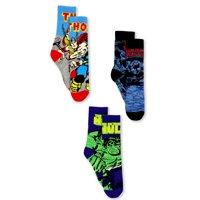 Marvel Avengers Black Panther Hulk Thor Boy's 3 pack Crew Socks Set MCR2281