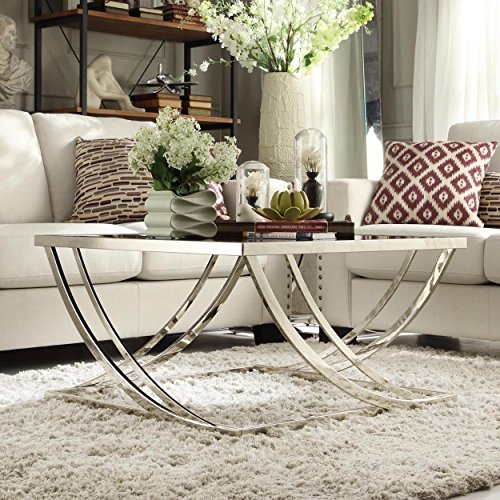 Rectangular Coffee Table With Glass Top And Curved Chrome: ModHaus Living Modern Steel Brushed Rectangle Arch Curved