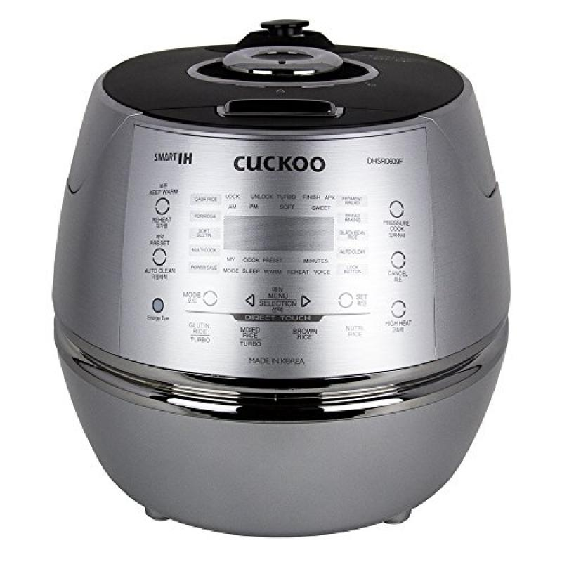 Cuckoo CRP-DHSR0609F 6 Cup 120V IH Pressure Rice Cooker, Metallic