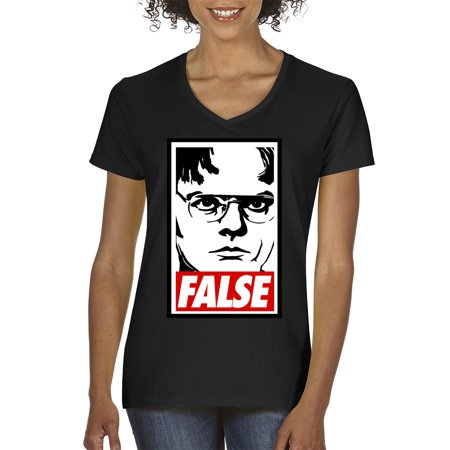 New Way 1154 - Women's V-Neck T-Shirt Dwight Schrute The Office USA False Statement Medium Black