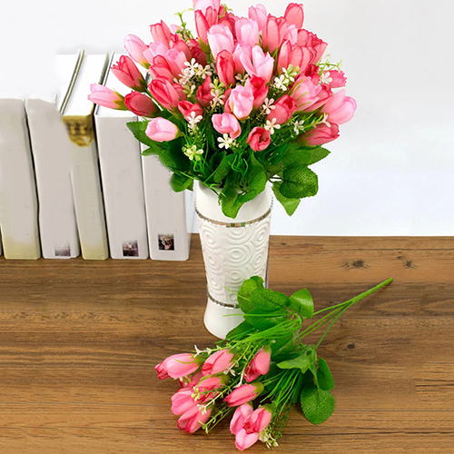Heepo 1 Bouquet 15 Heads Fake Tulip Bud Artificial Flower Wedding Party Home Decor