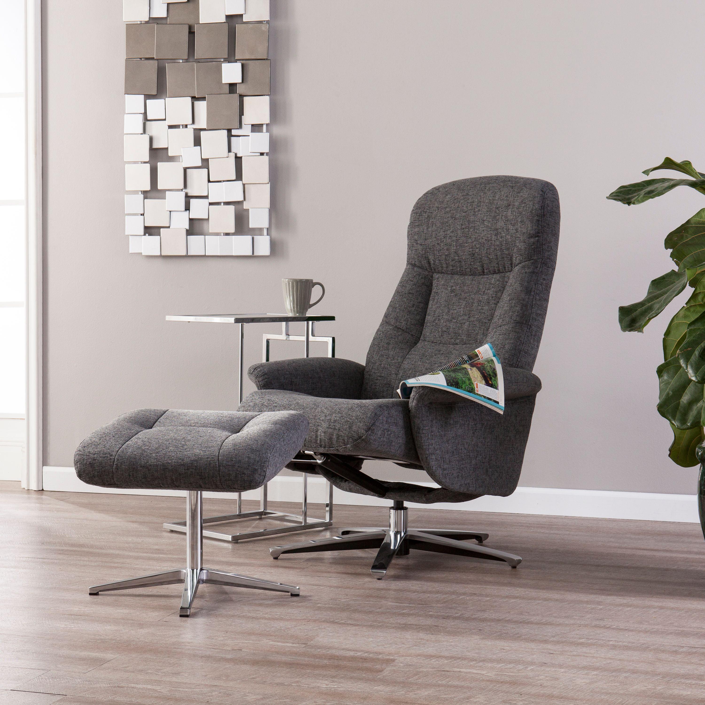 Southern Enterprises Fergon Reclining Chair and Ottoman, Gray